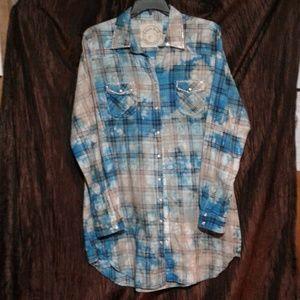 A Rare Bird Shirt Dress 2XL Long Sleeve Rhinestone